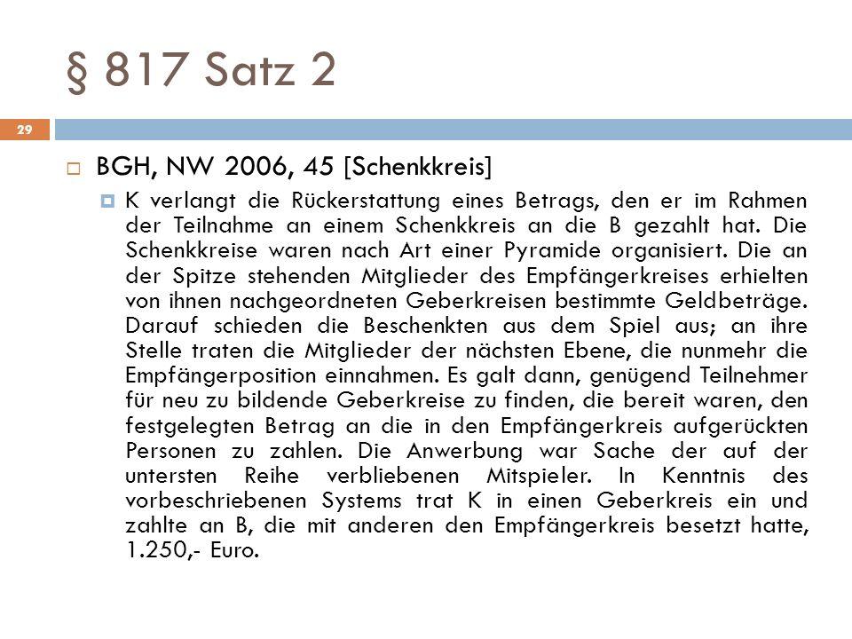 § 817 Satz 2 BGH, NW 2006, 45 [Schenkkreis]